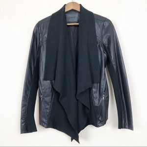 BLANK NYC Knit Drape Vegan Leather Jacket 55
